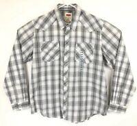 LEVIS Men's Gray White Plaid Western Pearl Snap Plaid Shirt Poly Cotton NWT