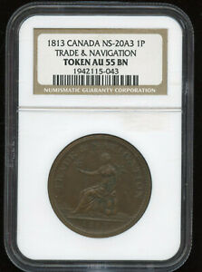 1813 Nova Scotia Trade & Navigation One Penny Token NGC AU55 - Cat#NS-20A3