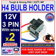 H4 3 PIN HEADLIGHT REPLACEMENT/REPAIR BULB HOLDER/CONNECTOR PLUG WIRE