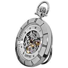 New Men's August Steiner AS8017SS Silver-tone Mechanical Chain Pocket Watch