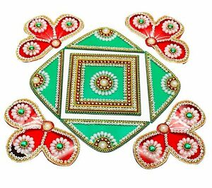 Rangoli Handicraft Jewel Stone Attractive Decorations (Light Green & Maroon)
