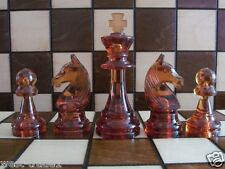 Brand New♞ Outstanding Amber Transparent Chess Pieces ♖