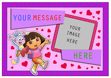 DORA THE EXPLORER  PERSONALISED A4 CAKE TOPPER, EDIBLE ICING SHEET ADD OWN PHOTO