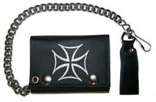 EMBROIDERED IRON CROSS TRI FOLD BIKER WALLET With CHAIN LEATHER #619 bikers