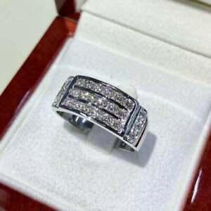 Classic Men's Engagement & Wedding Ring For Him 4.32 Ct Diamond 14K White Gold