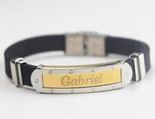 GABRIEL-Bracciale con nome-Silicone da Uomo & Gold Tone Inciso-Regalo Per Lui