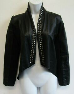 LUSCIOUS WOMENS SOFT LEATHER JACKET SIZE 8 BLACK SOFT LEATHER WITH STUDS