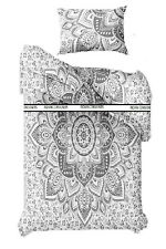 Grey Color Flower Ombre Mandala Cotton Twin Size Duvet Cover Comforter Indian