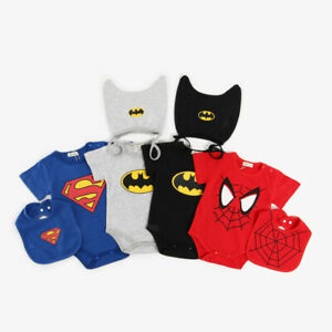 BABY SUPERMAN/BATMAN ROMPER +HAT/BIB NEWBORN BOY GIRL BABYGROW OUTFITS CLOTHES