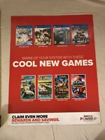 "Gamestop Promo Poster 24x28"" Nintendo Switch PS4 Warriors/ NASCAR/ Cabela PRINT"