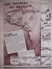 PUBLICITÉ 1930 VACANCES EN BRETAGNE LA BAULE CONCARNEAU PORCHINET DINARD MORLAIX