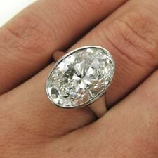 4.80Ct Certified White Oval Cut Diamond 14K White Gold Pretty Engagement Ring