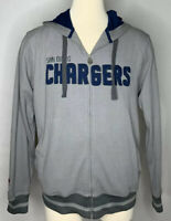Mens NFL Pro Line San Diego Chargers Gray Waffle Knit Full Zip Hoodie Size L