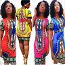 Women Traditional African Print Dashiki Bodycon Short Sleeve Slim Mini Dress Fit