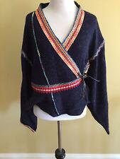 Anthropologie Moth Corn Wind Kimono Wrap Cardigan Sweater Blue Small S