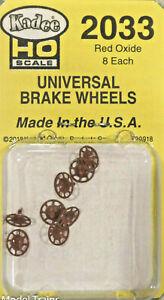 Kadee HO #2033 Universal Brake Wheels (Plastic) Red Oxide (8)
