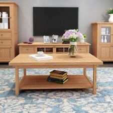 120CM Wooden Solid Oak Coffee Table Desk Big Size & Shelf Living Room Furniture