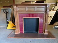 ~ ANTIQUE CARVED OAK FIREPLACE MANTEL ~ 42 INCH OPENING ~ ARCHITECTURAL SALVAGE