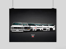 NISSAN GTR EVOLUTION A3 POSTER SKYLINE FAST CAR SPEED RETRO WALL