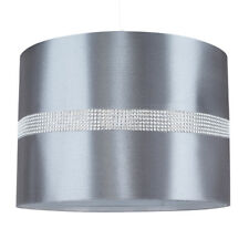 Polycotton Cylinder Roll Modern Decorative Fabric Grey Silver Diamante Effect
