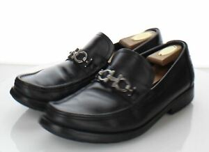 20-28 Men's Size 9 EE Salvatore Ferragamo Bit Leather Loafer In Black