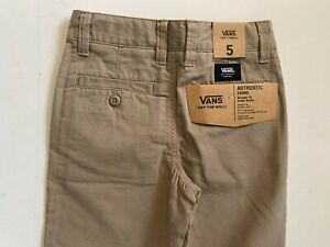 Vans New Authentic Chino Straight Fit Military Khaki Youth Boys Size 5/M