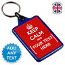 Keep Calm And Carry On Personalised Custom Text Keyring Key Fob Chain | Blue