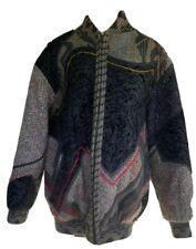 Vintage Koos Van Den Akker COUTURE Wool Patchwork Mixed Media Coat Oversized