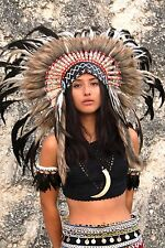 Indian headdress, natural color feathers, short length, feather headdress