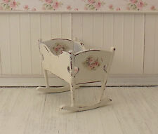 Dollhouse Miniature Shabby Chic Rocking Cradle Crib Baby Bed Pink Floral