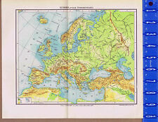 European Physical Geography Vintage Swedish Map Insert 1949
