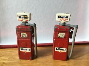 2 x Vintage Mobil Diecast Petrol Pumps 1950's Made in England