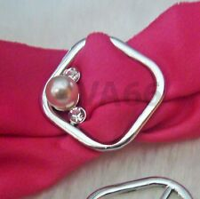 Diamond Rhinestone White Pearl Scarf Ring Silver Buckle Cincin Tudung Hijab