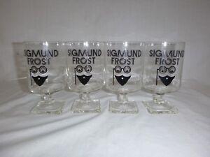 4 Vtg 70s Sigmund Frost Footed Pedestal Bar Glasses Advertising Whiskey