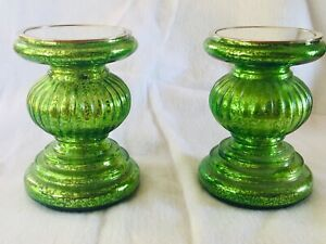 Set of 2 Lit GREEN Candle Holder Pedestals with Mirror Insert