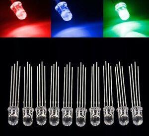 25x RGB LED 5mm 4 Pin Klar transparent Leuchtdiode Rot Grün Blau Licht Anode DE