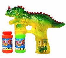 Haktoys Dinosaur Bubble Shooter Gun - Sound,LED Lights, Extra Bottle & Batteries