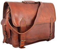 Men's Goat Leather Vintage Brown Flap Messenger Shoulder Laptop Bag 18 Inch