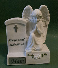 MEMORIAL ANGEL PRAYING BY HEADSTONE MAM GRAVE CEMETERY GRAVE ORNAMENT