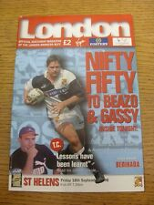 18/09/1998 Rugby League Programme: London Broncos v St Helens. Item appears to b
