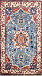 Geometric Vegetable Dye Super Kazak Oriental Area Rug Blue Wool Hand-knotted 2x3