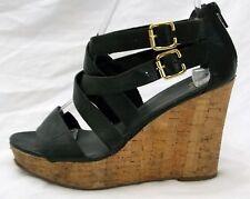 Gap Wedge Sandals Cork Platforms Wedges Strappy Black Leather size 6