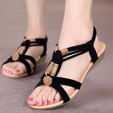Womens Bohemia Beads Slipper Flip Flops Flat Sandals Beach Thong Shoes Summer SP