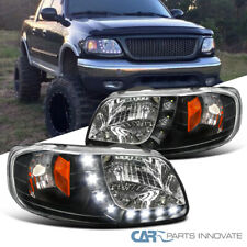 For 97-03 Ford F150 Expedition Pickup Black Smd Led Headlights Head Lamps Pair
