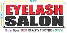 EYELASH SALON Banner Sign NEW Larger Size 2X5 Red & Black