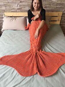 US Kids Adults Mermaid Tail Blanket Set-Soft Crocheted Sleeping Bag Knitting Rug