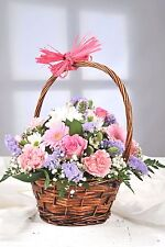 FRESH Real flowers Delivered Pastel Round Basket FREE UK Next Day