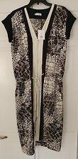 VINCE Graphic Croc Print Bl/Wh Silk-Chiffon Colorblocked Dress NWT $465 Size 4