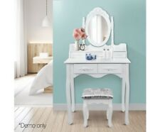 Antique Style White Dressing Table w/ Mirror Stool Bedroom Dresser