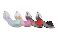 Womens Beach Sandals Flat Casual Jelly Heart Transparency Sweet Heart Shoes HOT